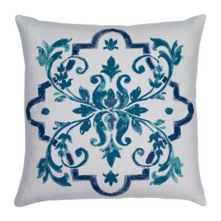 20 Square Designer Throw Pillow Talavera Aquamarine